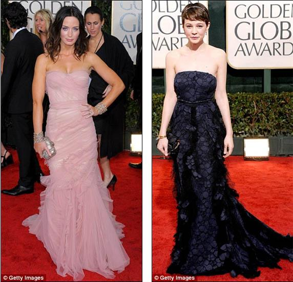 Great British hopes: Emily Blunt and Carey Mulligan arrive at the Golden Globes in Los Angeles