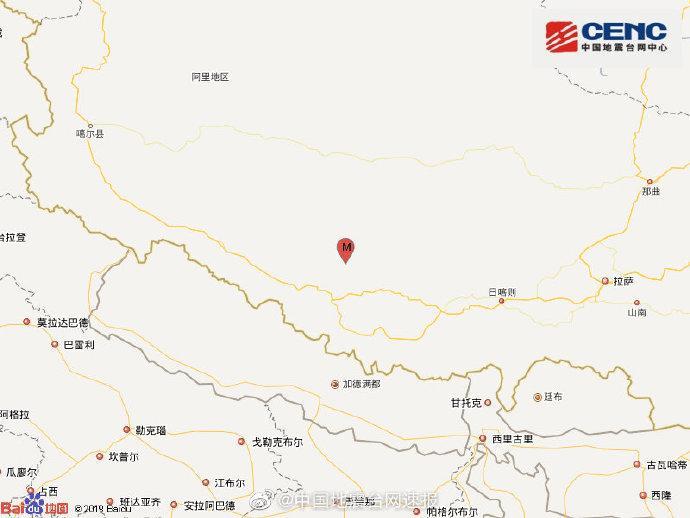 西藏阿里地区措勤县发生3.6级地震震源深度8千米