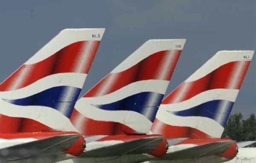 British Airways (BA) aircraft tailfins are seen at Heathrow Airport in west London May 11, 2010. British Airways won a High Court legal battle on Monday to avert cabin crew strikes that were due to start on Tuesday. (Xinhua/Reuters Photo)