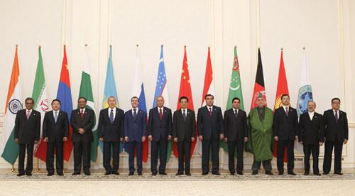Chinese President Hu Jintao (7th L) and other participants of the Shanghai Cooperation Organization (SCO) summit pose for a group photo in Tashkent, capital of Uzbekistan, on June 11, 2010.(Xinhua/Ju Peng)