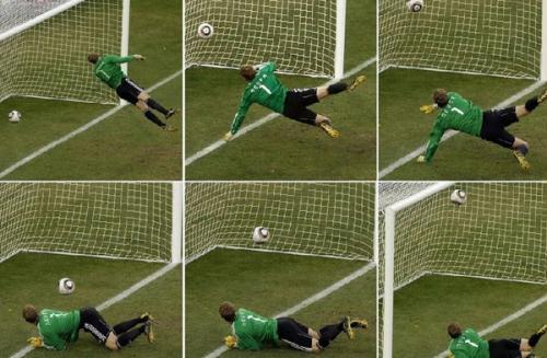 Combination photo shows Germany's goalkeeper Manuel Neuer watching the ball cross the line during the 2010 World Cup second round soccer match against England at Free State stadium in Bloemfontein June 27, 2010. England were denied an equalising goal on Sunday when a Frank Lampard shot from 20 metres out hit the crossbar and dropped well over the line. (Photo Source: sport. sina.com)