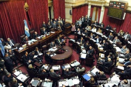 Members of Argentinian Senate discuss on the approval of homosexual couples in Buenos Aires, July 15, 2010. Argentina became the first Latin American country to recognize by law marriages between homosexual people Thursday. (Xnhua/Telam)