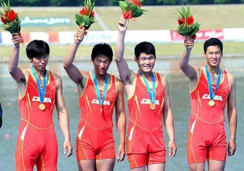 赛艇男子四人单桨无舵手决赛 中国组合再获金牌