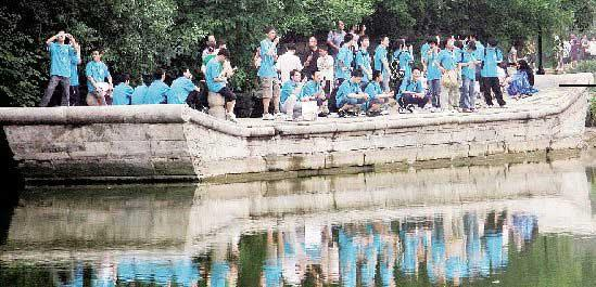 The marble boat crowded with visitors