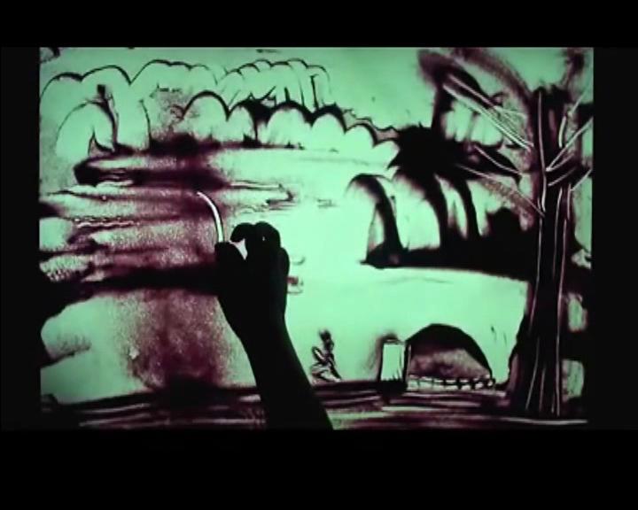 CHINAJOY上播放的仙剑沙画视频-《回头》
