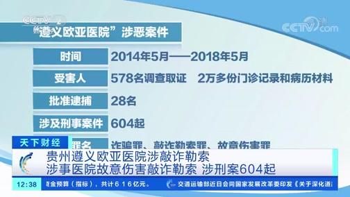 [天下财经]贵州遵义欧亚医院涉敲诈勒索 涉事医院故意伤害敲诈勒索 涉刑案604起