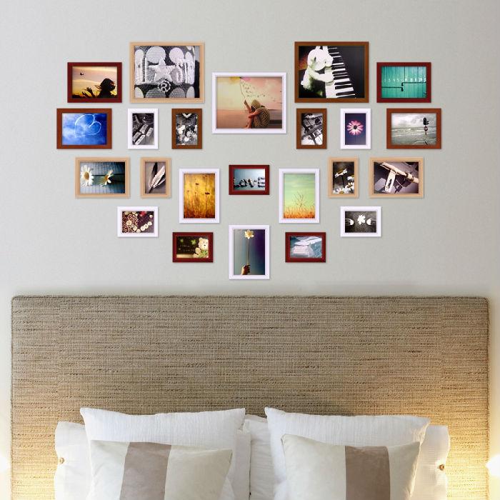 23框欧式实木照片墙新心型组合照片墙爱情照片墙颜色