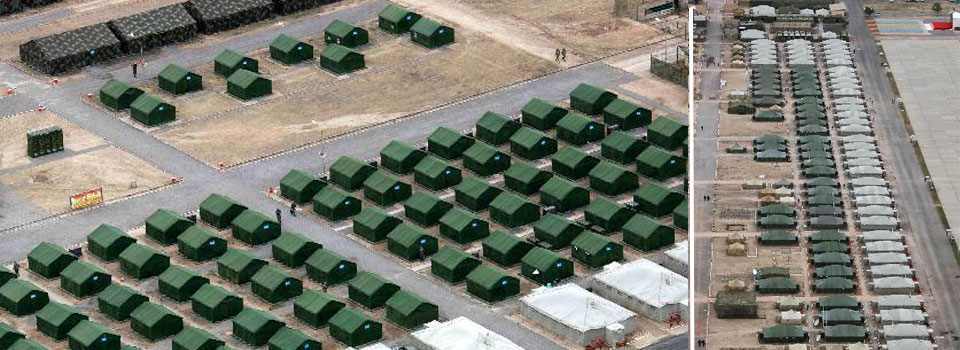 Aerial view of camp of SCO anti-terror military drill