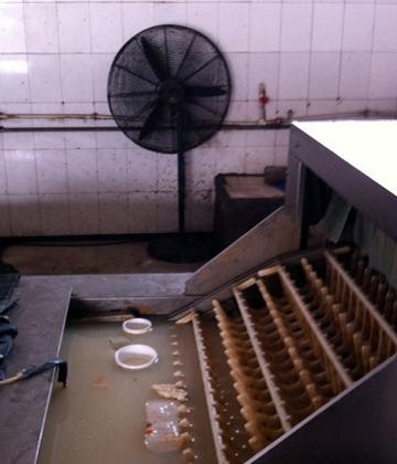 郑州一餐具消毒公司馊臭无比 清洗池里漂卫生巾