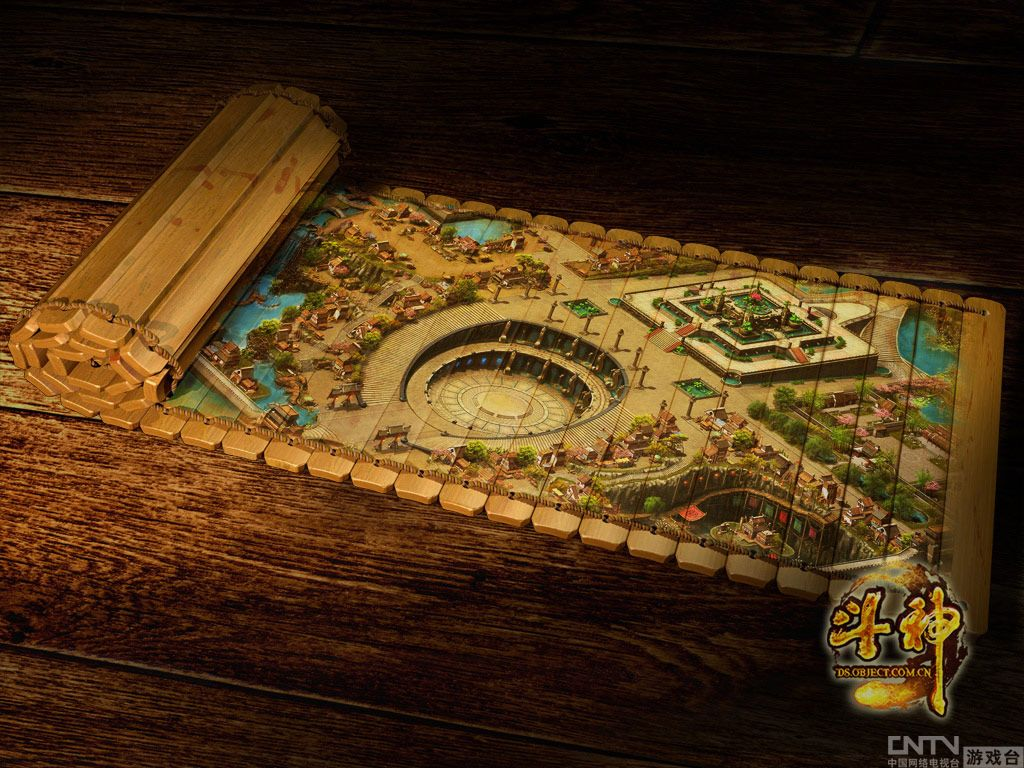 竹简地图彭城 从此不怕迷路 竹简画卷与 斗神 场景图大对比