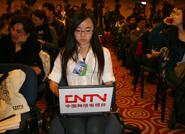 中国网络电视台记者在发布会现场