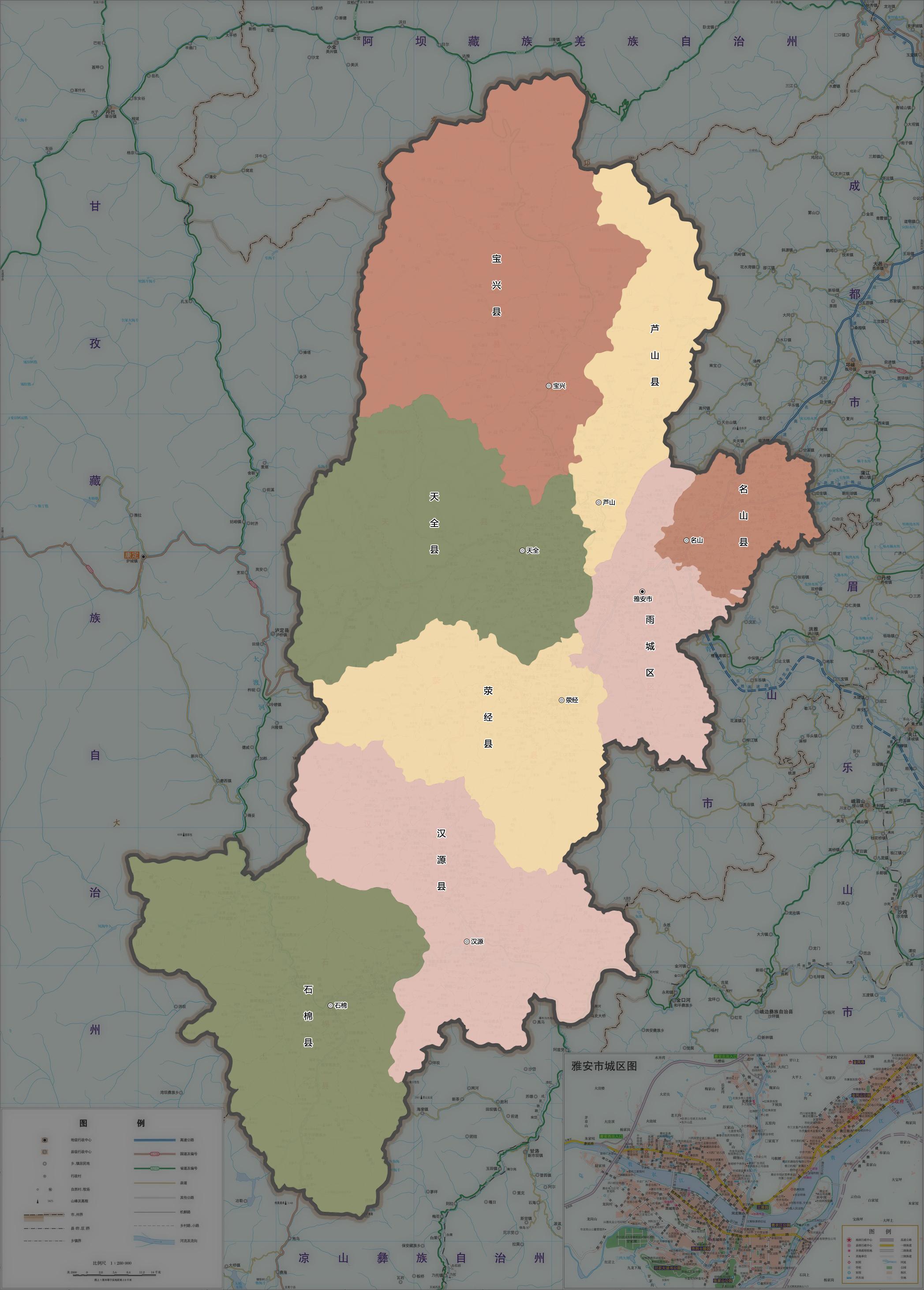 芦山风景区平面地图