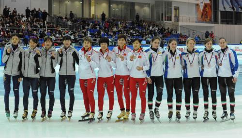 [高清组图]短道速滑世界杯-中国女队3000米夺金