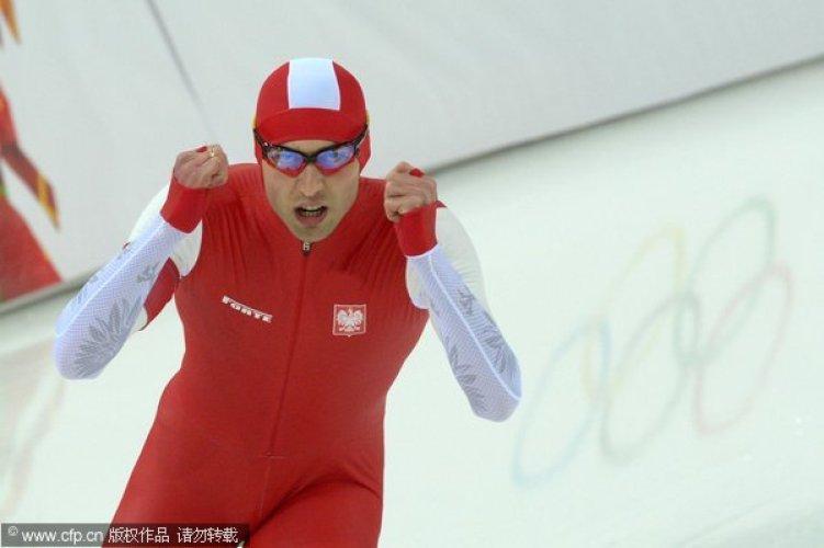 [高清组图]速滑男子1500米 波兰选手惊险夺金