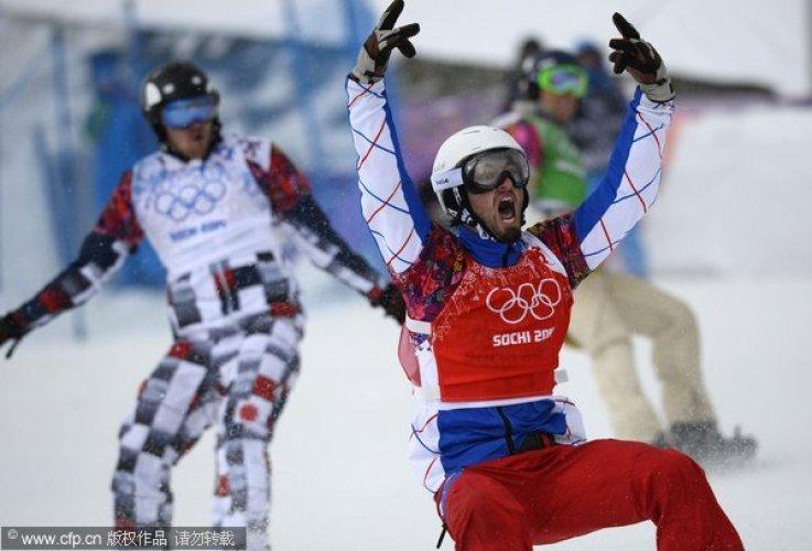[高清组图]单板滑雪男子追逐赛 法国选手夺冠