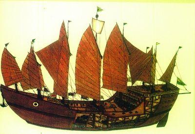 仿明代郑和宝船效果图。 资料图片