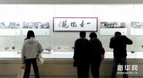 11月8日,市民在参观展出的紫砂珍品茶壶。新华网图片 许畅 摄