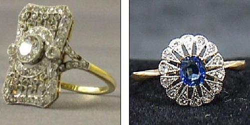 一枚18克拉黄金的钻戒左和一枚太阳花样式的蓝宝石戒指来源:中国日报网