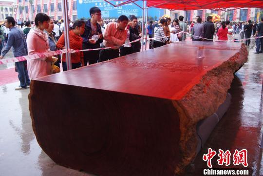 开幕式现场,一张大型红木办公桌吸引众人参观。 翟李强 摄