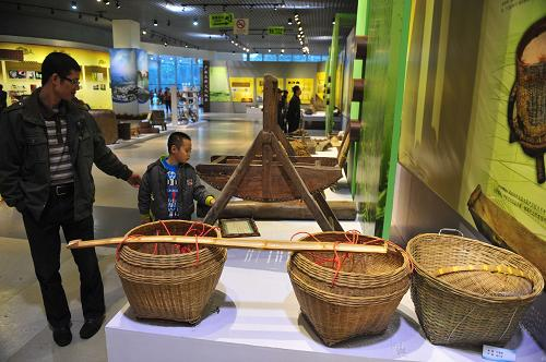 12月1日,观众在参观广西传统农具。新华社记者 黄孝邦 摄