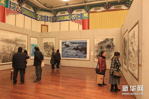 12月17日,观众在欣赏作品。新华网图片 张燕辉 摄