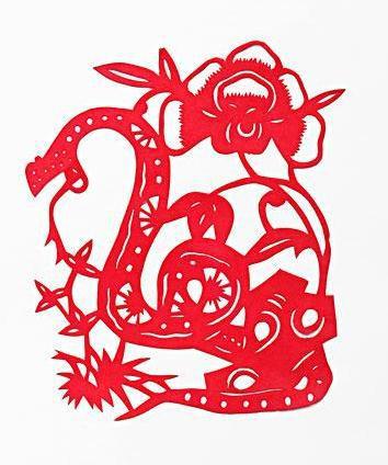 牡丹顽石蛇年剪纸窗花图案与教程