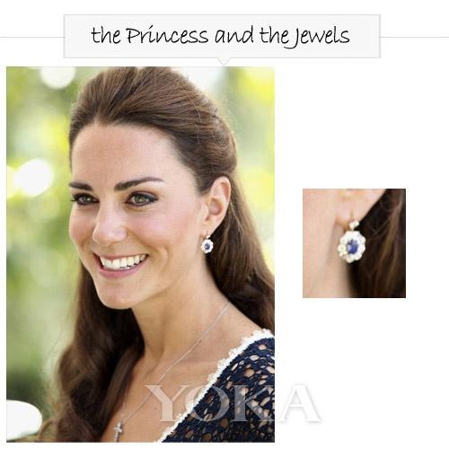 戴安娜王妃生前最爱的蓝宝石耳环-王室做派 凯特王妃最爱小巧耳环