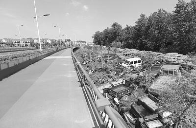 图为菱角湖大桥旁的停车场。