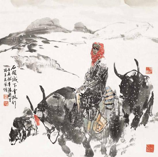 杜滋龄作品《石头城下雪路行》