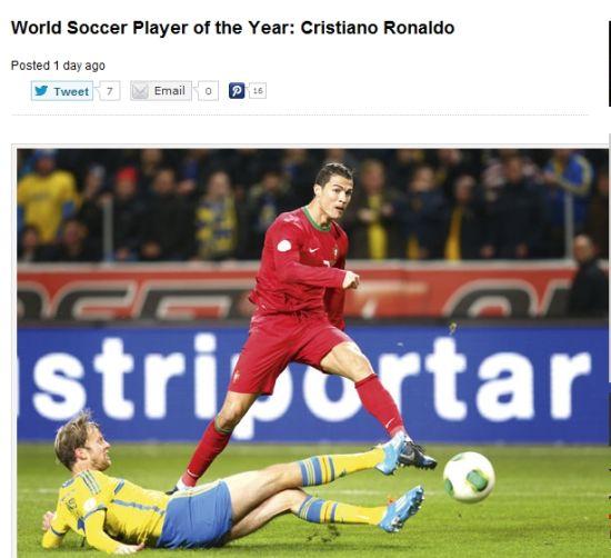 《世界足球》杂志:2013年最佳球员是C罗