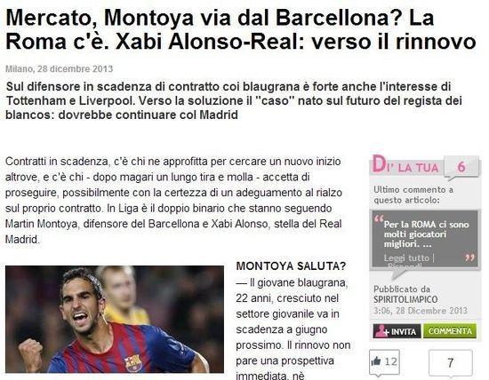 《米兰体育报》:罗马追逐巴萨新星蒙托亚