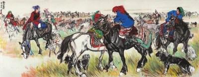 黄胄《欢腾的草原》142×360cm 1981年作