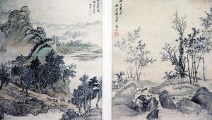 田耘收藏的清代画家杨晋山水册页。
