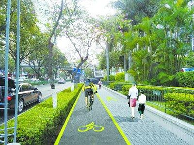 人行道外侧树池改为绿化带 效果图
