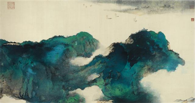 张大千 《山寺》 国画  43.5cmx 90.5cm  1974年