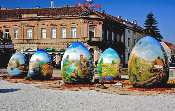 The eggs, featuring colourful landscapes and other images, have been put on show in the city of Koprivnica ahead of being shown in other cities around Europe.