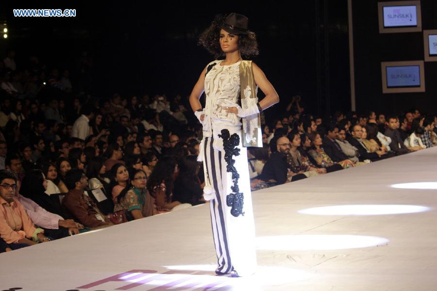 A model presents a creation by designer Saira Shakira on the last day of PFDC Sunsilk Fashion Week in eastern Pakistan