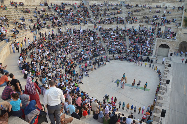 Children from the Zaatari Refugee Camp perform a play adapted from William Shakespeare