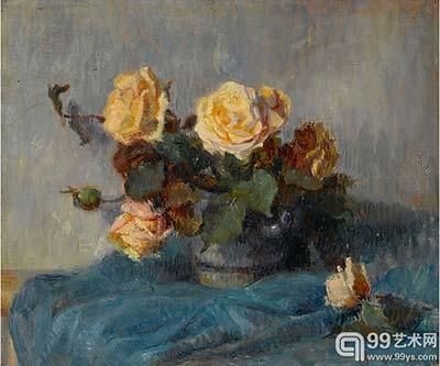保罗.高更静物画作 一束黄玫瑰 1884高清图片
