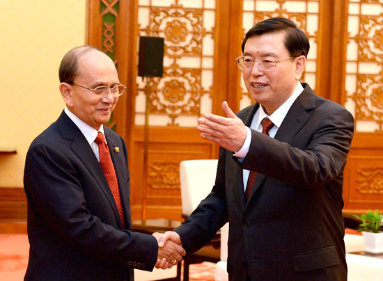 Zhang Dejiang (R), chairman of the Standing Committee of China