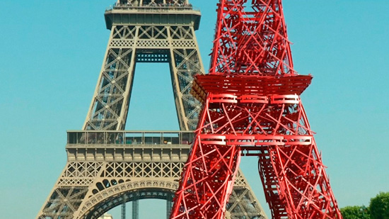 Eiffel Tower recreated with red chairs in 125th anniversary