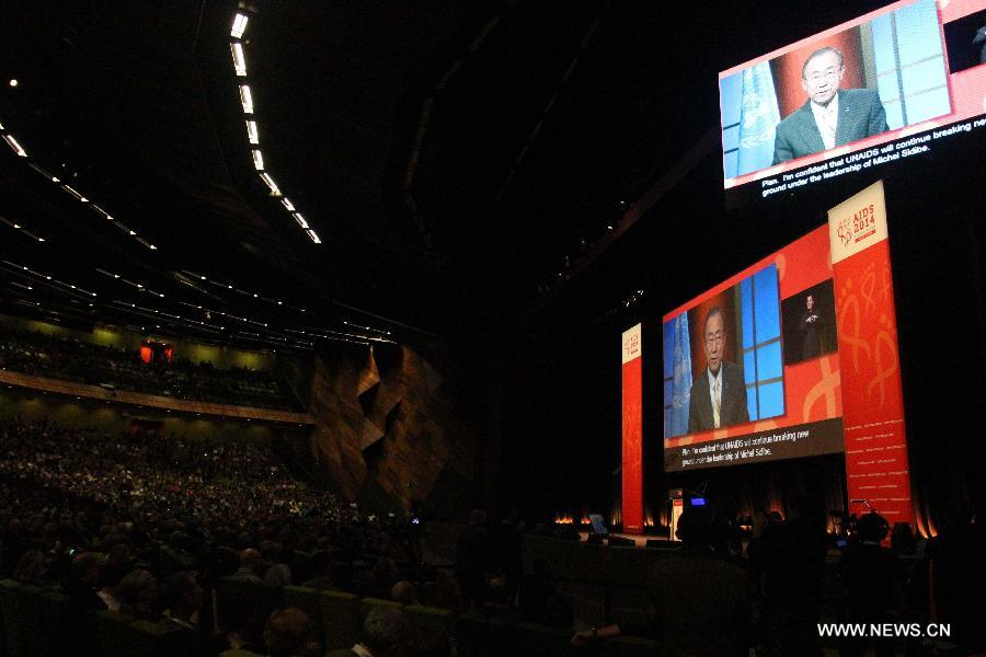 Secretary General of the United Nations Ban Ki-moon addresses the opening of the 20th International AIDS Conference at the Melbourne Convention and Exhibition Centre (MCEC) in Melbourne, Australia, on July 20, 2014. At least six delegates heading for Melbourne to join the 20th international AIDS conference were killed in the crash of Malaysian flight MH17. (Xinhua/Xu Yanyan)