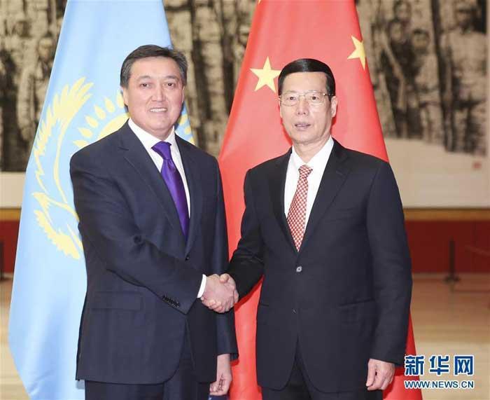 11月28日,中共中央政治局常委、国务院副总理张高丽在北京同哈萨克斯坦第一副总理马明举行中哈合作委员会双方主席会晤。