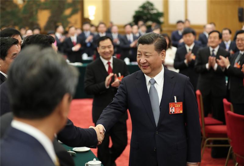 3月7日,中共中央总书记、国家主席、中央军委主席习近平参加十二届全国人大五次会议辽宁代表团的审议。