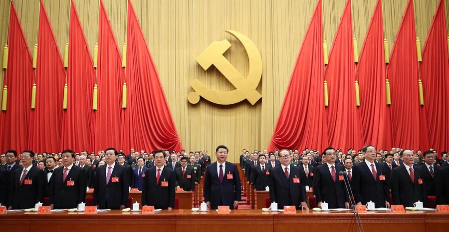 10月18日,中国共产党第十九次全国代表大会在北京人民大会堂开幕。这是习近平、李克强、张德江、俞正声、刘云山、王岐山、张高丽、江泽民、胡锦涛在主席台上。