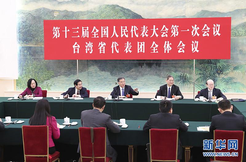 3月7日,中共中央政治局常委、国务院副总理汪洋参加十三届全国人大一次会议台湾代表团的审议。
