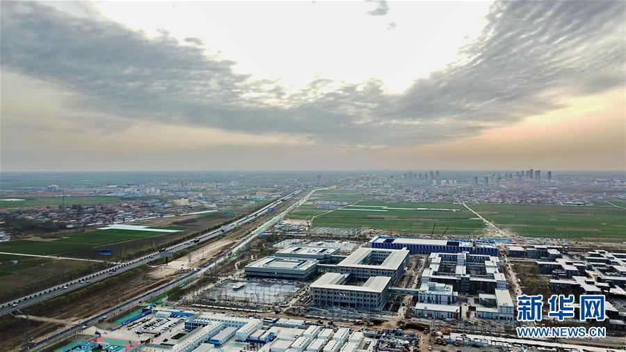 这是雄安新区市民服务中心(2018年3月29日无人机拍摄)。新华社记者 牟宇 摄