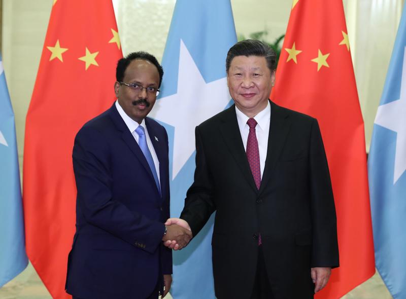 8月31日,国家主席习近平在北京人民大会堂会见索马里总统穆罕默德。新华社记者 丁林 摄