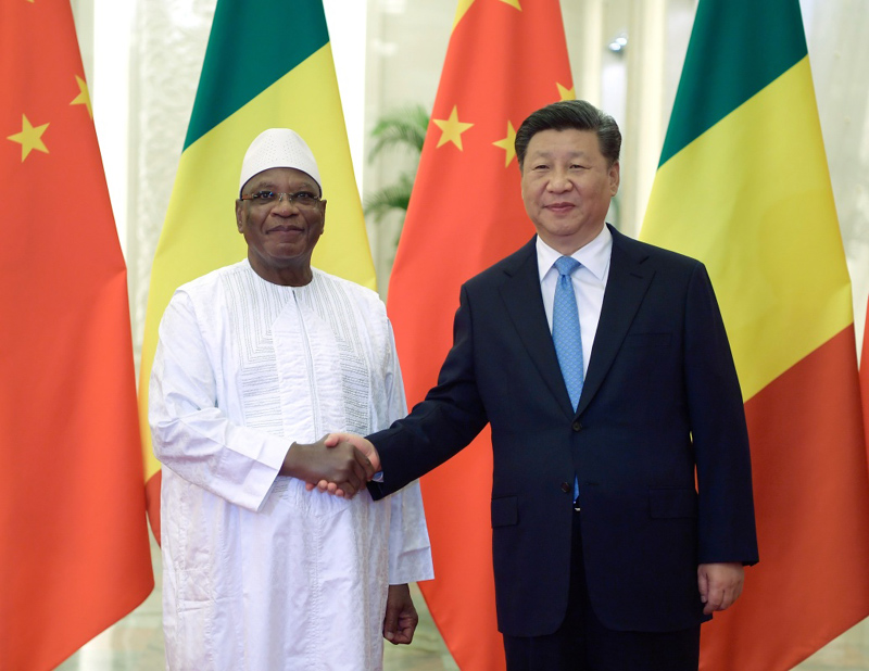 8月31日,国家主席习近平在北京人民大会堂会见马里总统凯塔。新华社记者 李学仁 摄