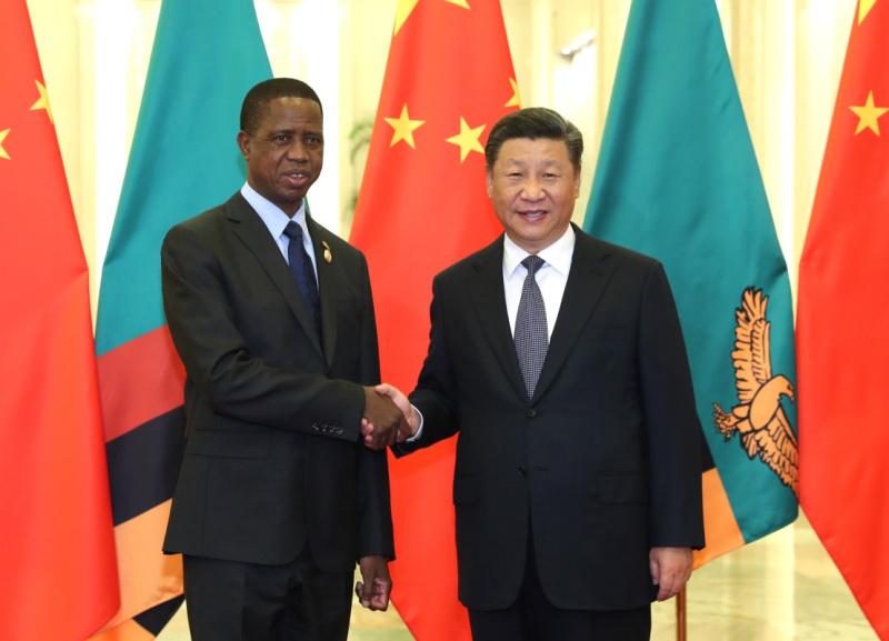 9月1日,国家主席习近平在北京人民大会堂会见赞比亚总统伦古。新华社记者 庞兴雷 摄
